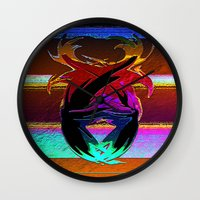 """wings Wall Clocks featuring """" Wings """"  by shiva camille"""