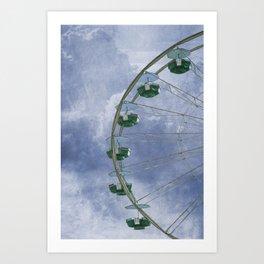 Green Ferris Wheel on Blue Art Print