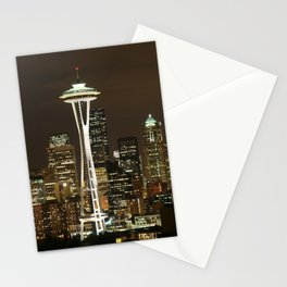 Seattle Space Needle at Night - City Lights Stationery Cards