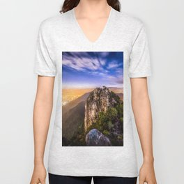 Hong Kong City Night view from Lion Rock hilltop Unisex V-Neck