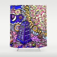 tardis Shower Curtains featuring Tardis by Douglas Mooney