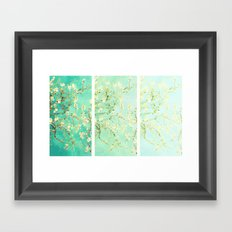 Vincent Van Gogh Almond Blossoms Panel art Aqua Green Framed Art Print