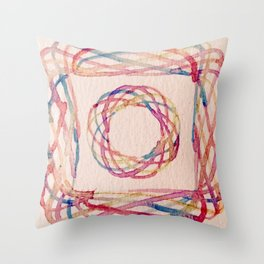 Spirograph watercolor print Throw Pillow