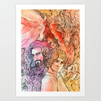 hobbit Art Prints featuring The Hobbit  by lorna-ka