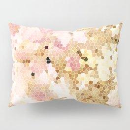 Flower Mosaic Millennial Pink and Golden Yellow Abstract Art | Honey Comb | Geometric Pillow Sham