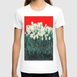 Red Whites Daffodils/Narcisus Spring Blue-Green Garden T-shirt