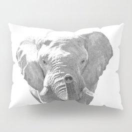 Black and white elephant illustration Pillow Sham
