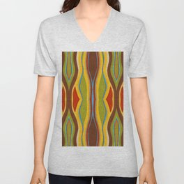 Green Brown Red with Orange and Blue Highlighting Retro Style by annmariescreations Unisex V-Neck