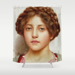 a girl with a pierced nose Shower Curtain