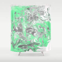 Light green and gray Marble texture acrylic paint art Shower Curtain