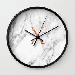Monogram rose gold marble X Wall Clock