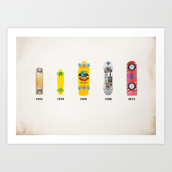Evolution of skate deck Art Print
