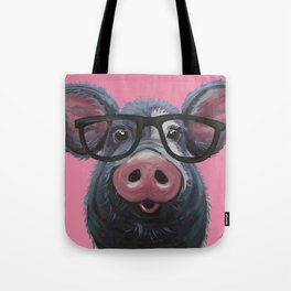 Pig with glasses art, Colorful pig art Tote Bag