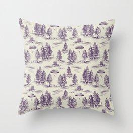 Purple Alien Abduction Toile De Jouy Pattern Throw Pillow