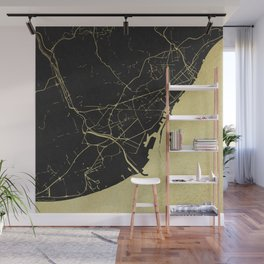 Barcelona Black and Gold Map Wall Mural