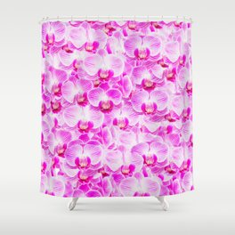 Pink Pattern Orchids Galore Shower Curtain