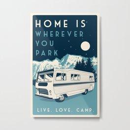 retro vintage camper love camping wilderness Metal Print