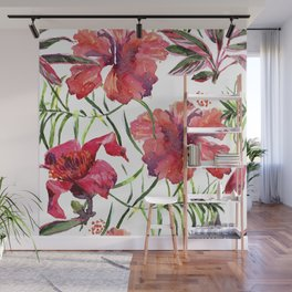 Tropical Background. watercolor tropical leaves and plants. Hand painted jungle greenery background Wall Mural