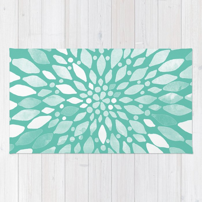 Radiant Dahlia In Teal And White Rug By Tangerinetane