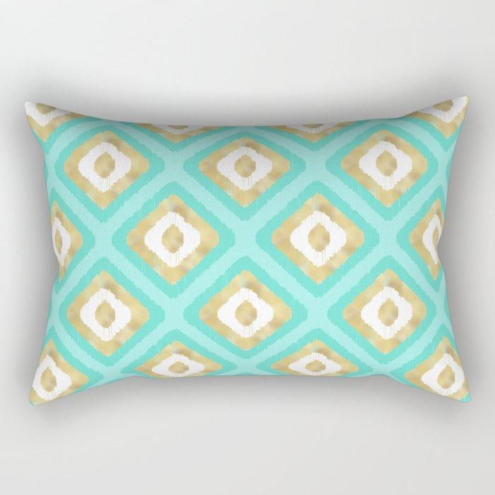 Gold & Turquoise Ikat Pattern Rectangular Pillow