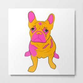 Frankie the French Bulldog - Orange Metal Print