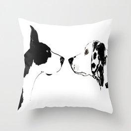 Great Dane Dog with Dalmatian Dog Throw Pillow