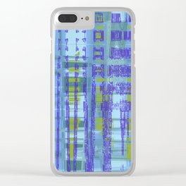 Purple, yellow, green, teal shapes combine together create messed up art Clear iPhone Case