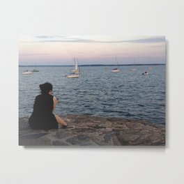 Evening Mourning By Moorings Metal Print