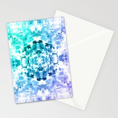 Floral Print - Teal & Purple Stationery Cards