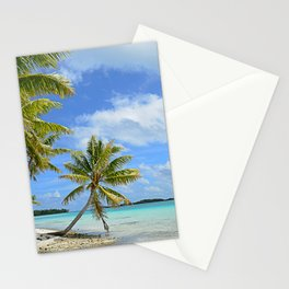 Tropical palm beach in the Pacific Stationery Cards
