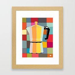 Retro Espresso Pot on Mid Century Palette Background Framed Art Print