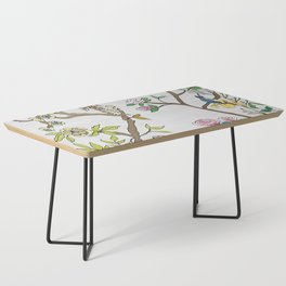 Chinoiserie Panels 4-5 Silver Gray Raw Silk - Casart Scenoiserie Collection Coffee Table