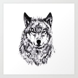 Wolf - Black 'n White Art Print