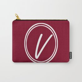 Monogram - Letter V on Burgundy Red Background Carry-All Pouch