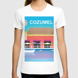 Cozumel, Mexico - Skyline Illustration by Loose Petals T-shirt