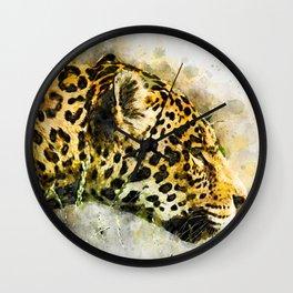 Jaguar Watercolor Splash Wall Clock