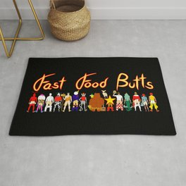 Fast Food Butts with Text Rug