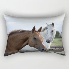 Two horses by a gate Rectangular Pillow