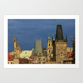 Sunny View on Prague from Charles Bridge (Karlovy Most) Art Print