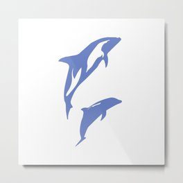 A Pair of Dolphins Metal Print