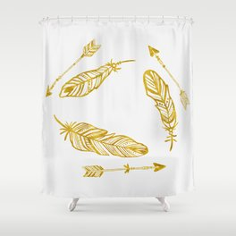 Golden Feathers and Arrows Shower Curtain