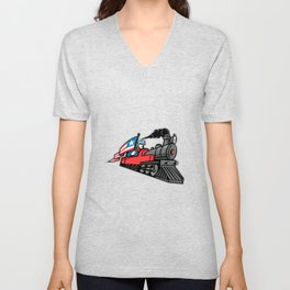 American Steam Locomotive Mascot Unisex V-Neck