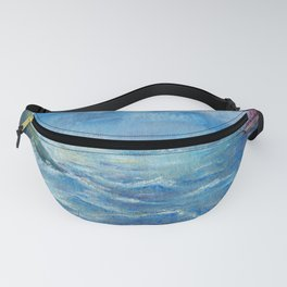 Seascape with red sailboat drawing by pastel Fanny Pack