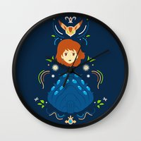 nausicaa Wall Clocks featuring Wind Valley by Ashley Hay