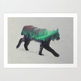 Lynx In The Aurora Borealis Art Print