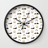 lost in translation Wall Clocks featuring Lost in Translation by Qc Illustrations