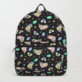 Silkie Guinea Pigs Kawaii Unicorn Pattern in Black Backpack