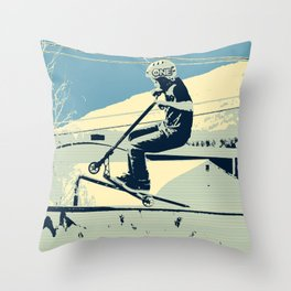 Getting Some Serious Air - Scooter Boy Throw Pillow