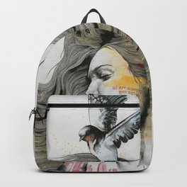 Monument (long hair girl with bird and skyline tattoo) Backpack