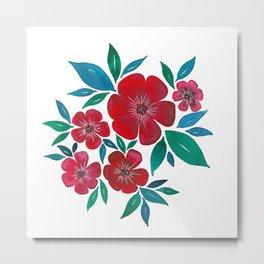 Red Flowers watercolor Metal Print
